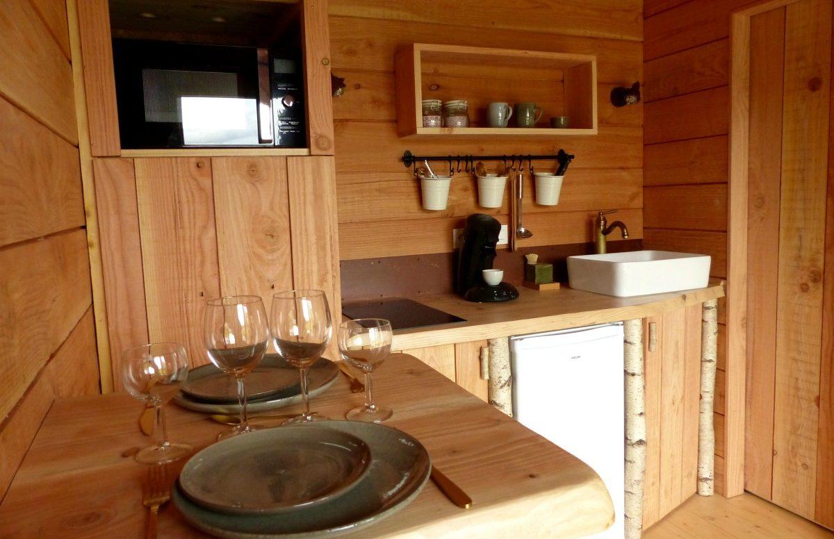 Le coin cuisine cabane et spa
